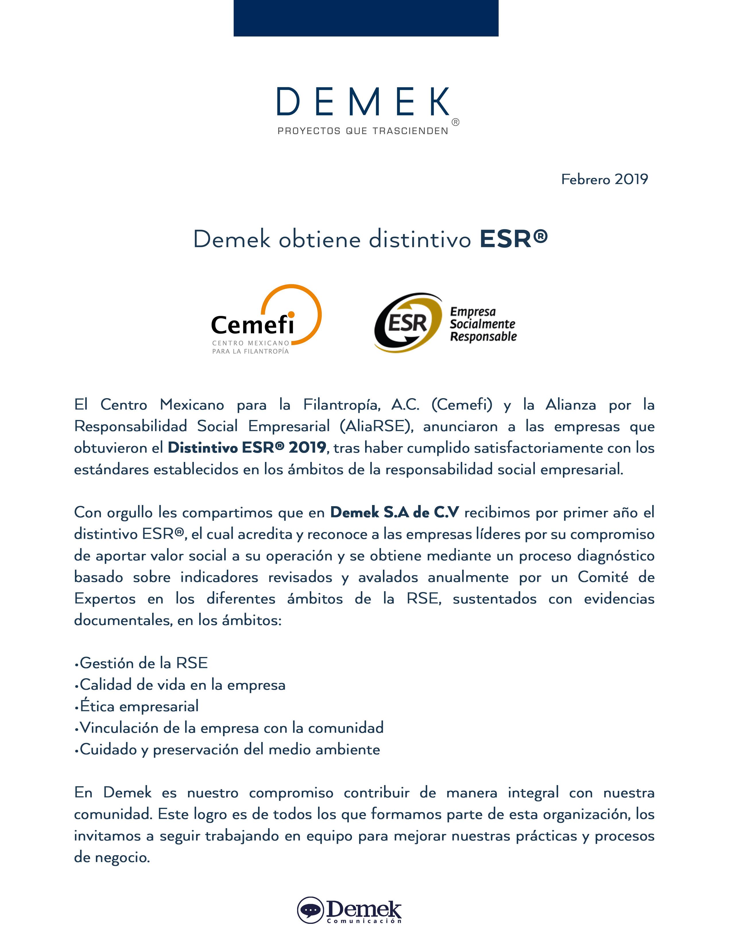 Demek obtain ESR insignia