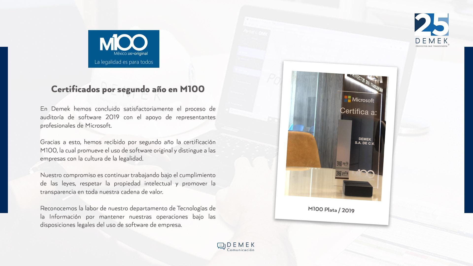 Certificación M100 / Plata