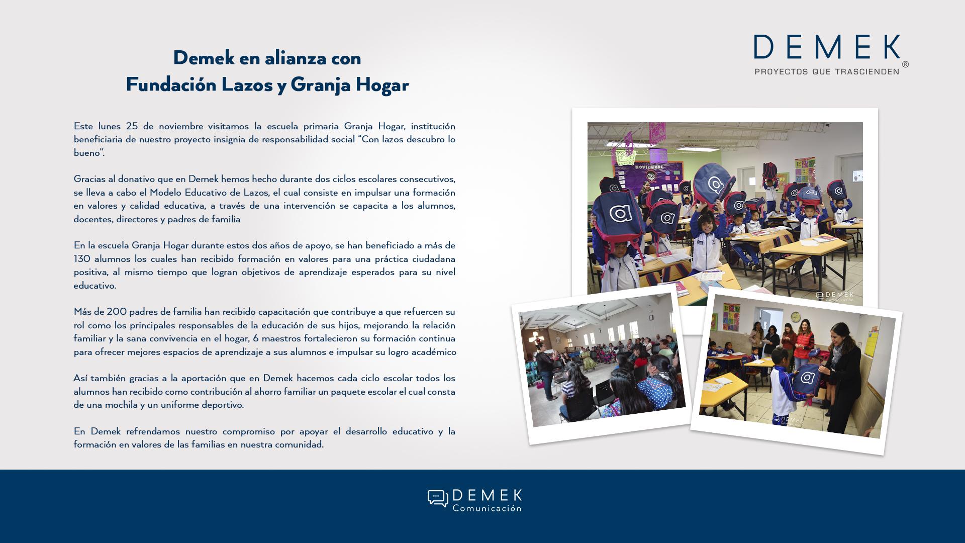 Demek apoyando a Fundación Lazos y Granja Hogar